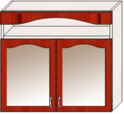 Шкафы кухонные навесные с нишей двухстворчатые со стеклом / .